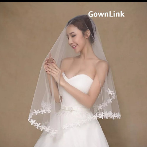 Christian Bridal White Short Veil 1.5 Metre With Front Layer GownLink India