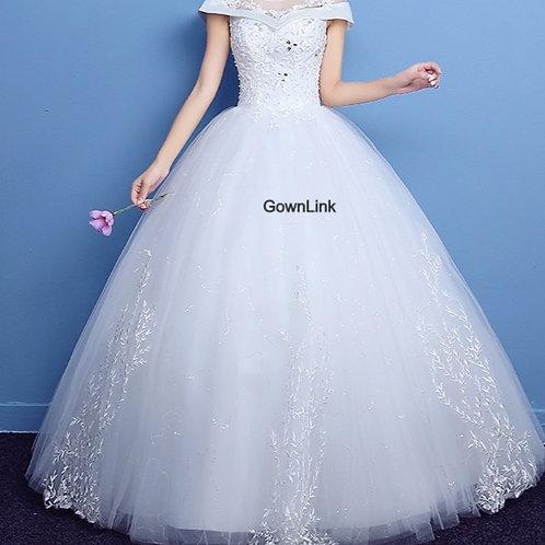 White Christian & Catholics Wedding Ball Dress GLKQD06 With Sleeves