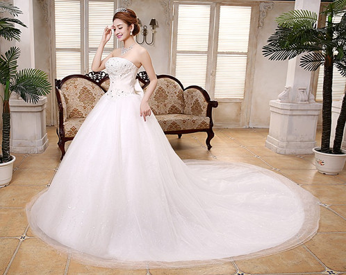 Beautiful White Gown Christian Wedding Dress Special Tube Gown QT42