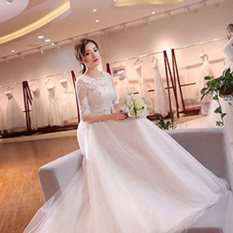 White Christian & Catholics Wedding Long Train Frock QHS620 With Sleeves