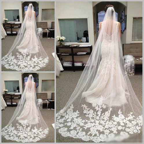 Christian Bridal White  Veil Lace Patch Work With Comb  Face Layer 1800L  India