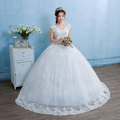 Wedding Gown Ball Dress Christian Wedding Special Occasion V Neck GownTD13 with