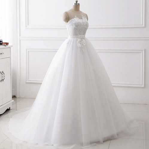 White Christian & Catholics Wedding Long Train Dress With Sleeves