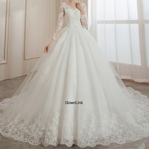 Christian & Catholics Wedding Bridal Train Gown With Slevess GLHSD14T India