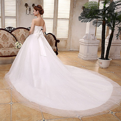White Christian & Catholics Wedding Long Train Frock QT42 With Sleeves