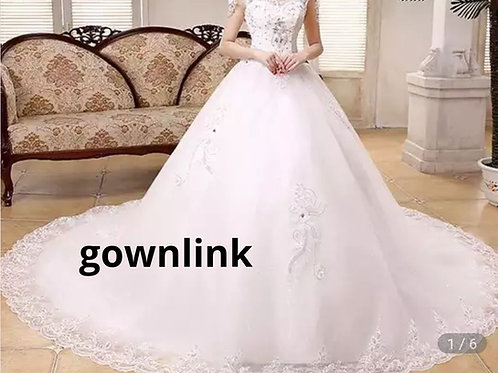 White Christian & Catholics Wedding Long Train Frock GLMD88 With Sleeves