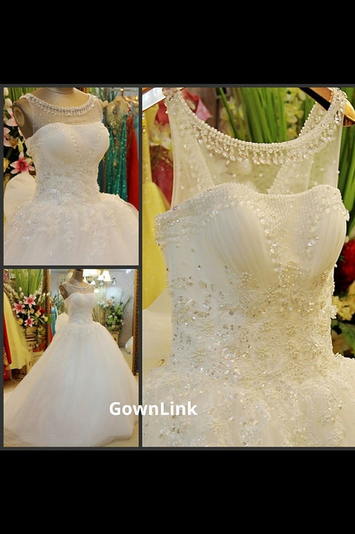 White Christian Wedding Gowns Embroidery HS762 With Sleeves