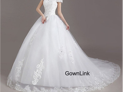 White Christian & Catholics Wedding Train Dress GLKD03T With Sleeves
