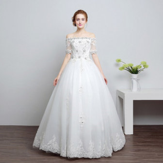 White Beautiful Wedding White Dress Gown HS600