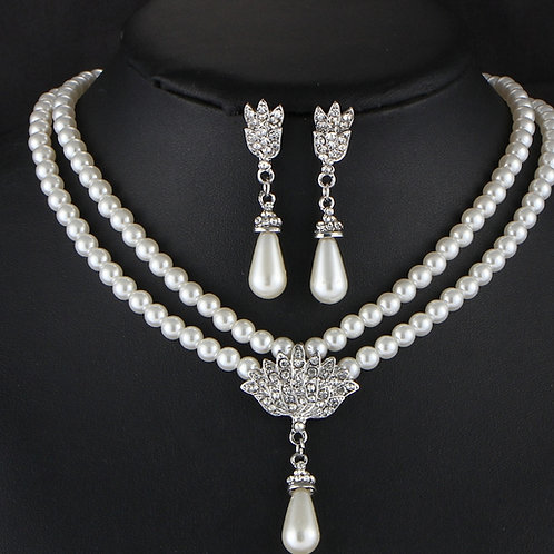 Christin Bridal  pearl necklace with ear rings