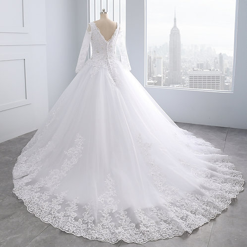 Christian Wedding Catholics White Train Gown GL0089688999 With Sleeves India