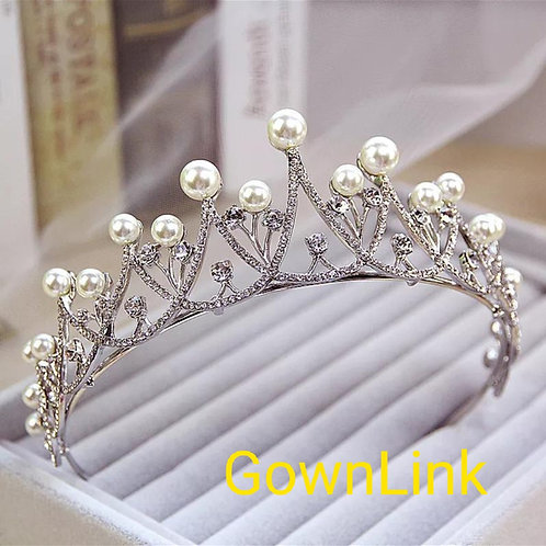 Catholics Wedding Silver Pearl Crown Hair Accessories For Bride  India