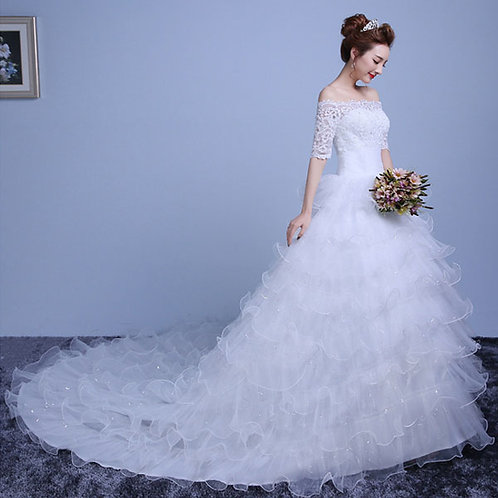 Women's White Wedding Bridal Gown Solid Lace Floor-Length Ball Gown Dress