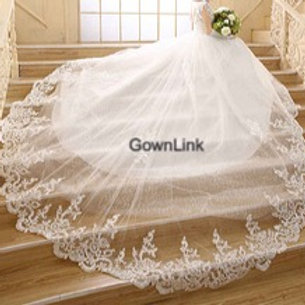 White Christian & Catholics Wedding Long Train Gown GLHS343T With Sleeves India