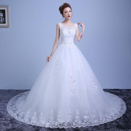 Latest Christian Wedding Train Gowns White/Red Bridal Wedding 606