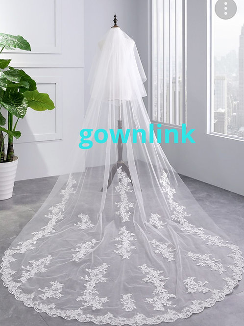Long White Bridal veil Christian Wedding GLHL53
