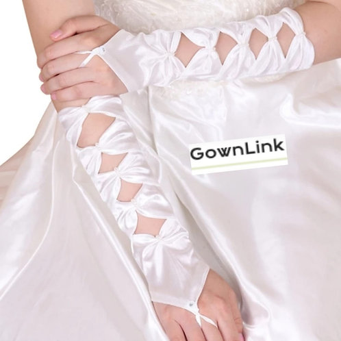 Christian Bridal White Satin Gloves [17]  India