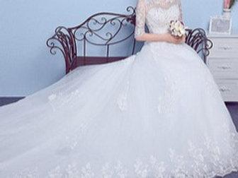 White Christian & Catholics Wedding Train  GLKDS029  With Sleeves