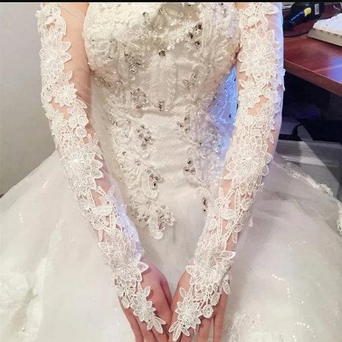 Long Christian ,Catholics Wedding Bridal White Gloves INDIA