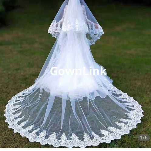 Bridal wedding veil  heavy work GLVHL02 With Comb And with Front Face Layer