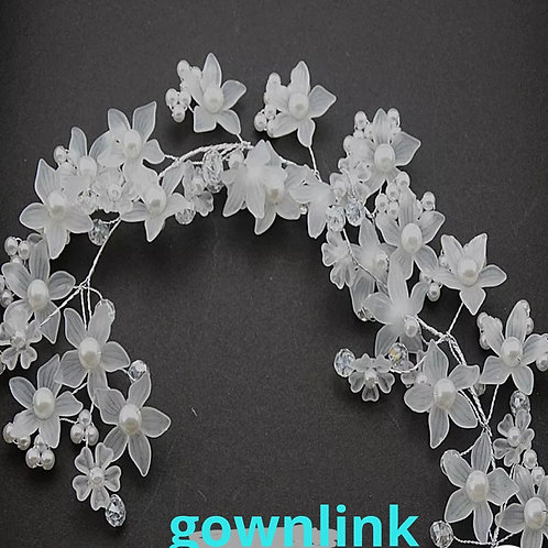 Bridal Wreath Floral Tiara White Pearl Christian Bride INDIA