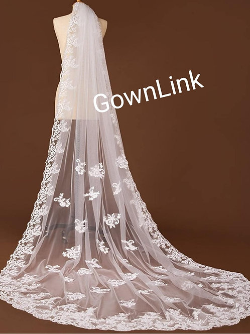 Gownlink  Christian Bridal Long Veils 2 with front Layer GLVHM-1