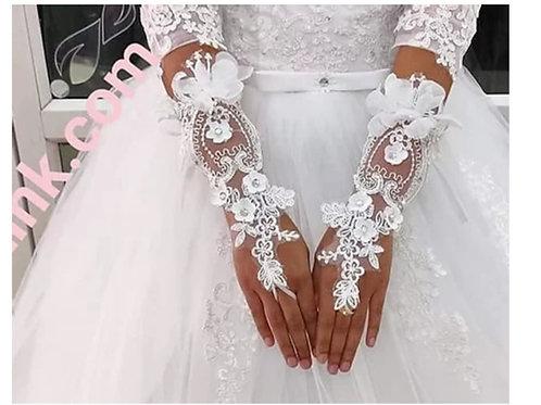 Christian Wedding Catholic Bridal Fingerless White Gloves