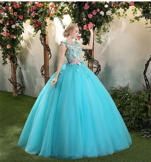 Light Blue Wedding Gown Ball Flower Dress ZH08