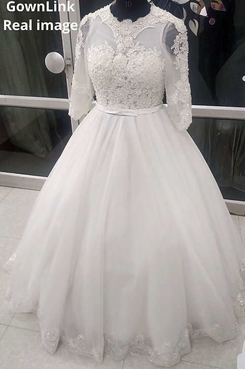 Christian & Catholics Wedding Bridal Ball Gown GLHS691 With Sleeves India