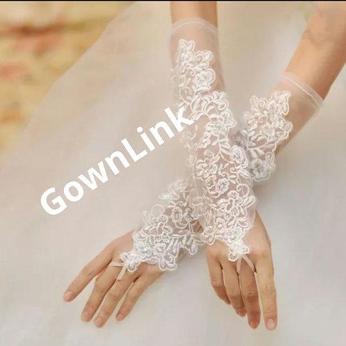 Christian Bridal White Flowers Gloves [12]  India