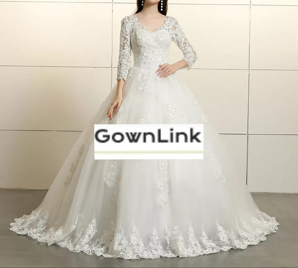 Christian & Catholics Wedding Bridal Train Gown With Slevess GLGT031