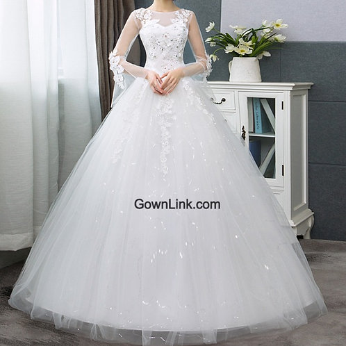 Christian & Catholics Wedding Bridal Ball Gown GLHSD187C With Sleeves