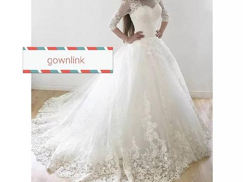 Christian Gowns Catholics Wedding White Train Dress GL5.6-2 India