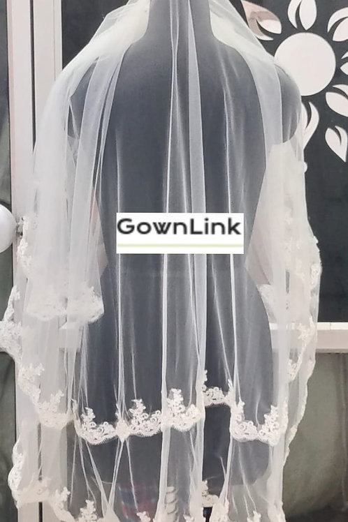 Christian Wedding Short  White Veil  2 metre with Comb India