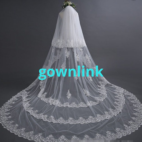 Christian Wedding Catholics wedding white long veil 4 metre GLVAL003