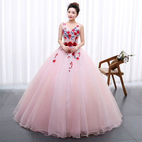 Color Pink Ball Wedding Gown Engagement Gown Photoshoot Dress ...