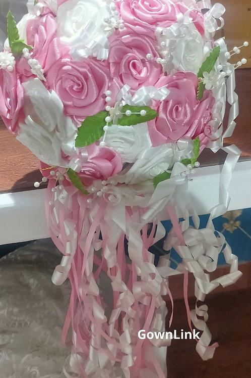 Christian Bridal Long Bouquet Pink & White Flowers  IndiaBouquet-B 60