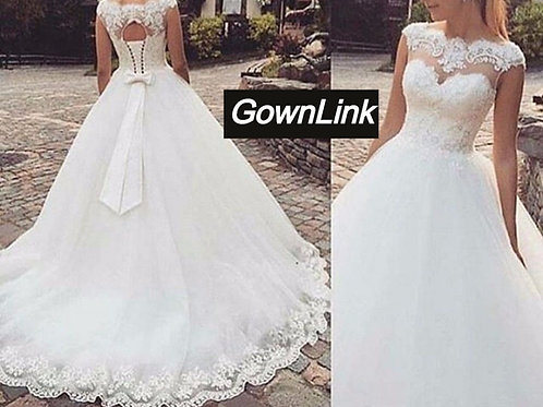 Christian & Catholics Wedding Bridal Train Gown With Sleeves GLHS910 India