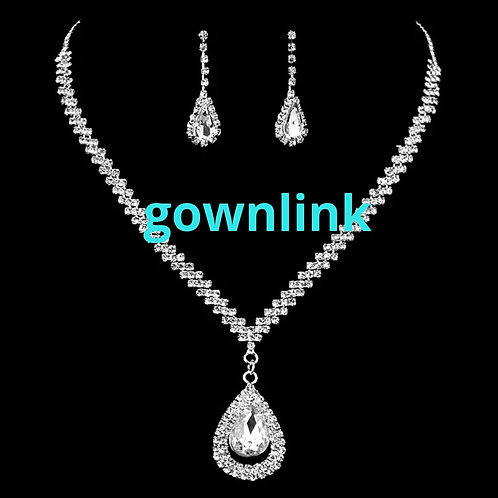 Crystal Bridal Wedding Necklace with ear rings