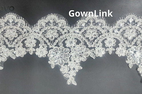 Copy of GownLink Lace Fabric Sequence work  16 Inch Length