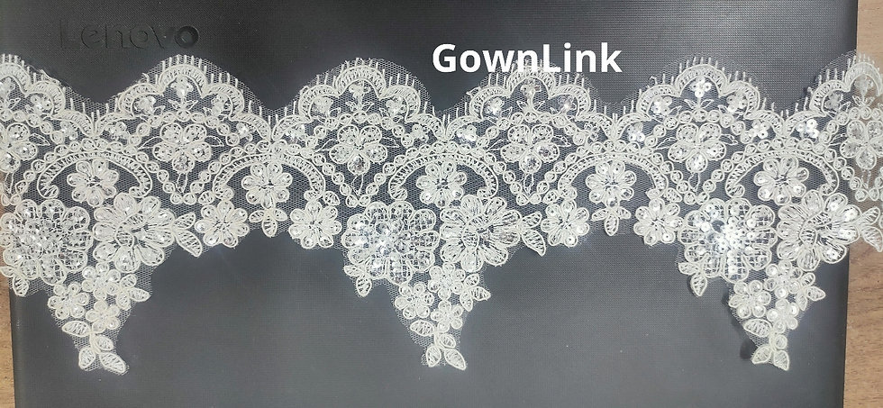 GownLink Lace Fabric Sequence work 16 Inch Length