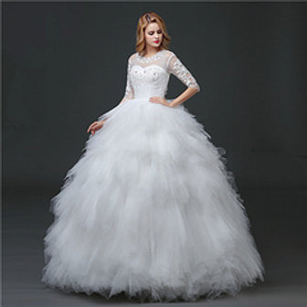 Wedding Gown Ball Dress Sleeves Christian Wedding Special Occasion Gown HS610