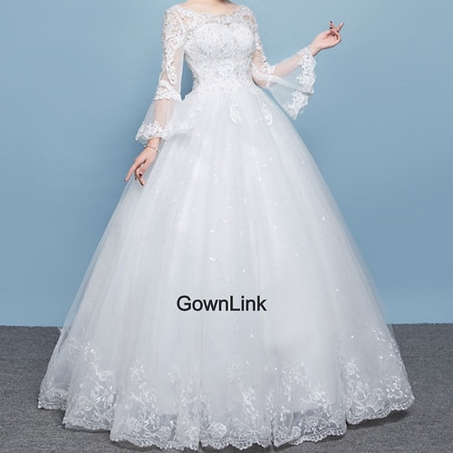 Christian & Catholics Wedding Bridal Ball Gown QD18 With Sleeves