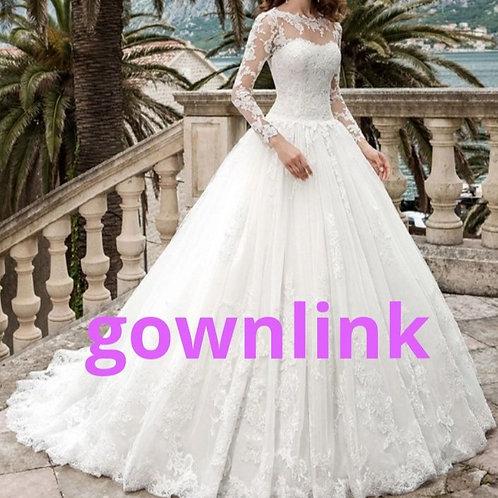 White Christian & Catholics Wedding Long Train Dress GLN199  With Sleeves