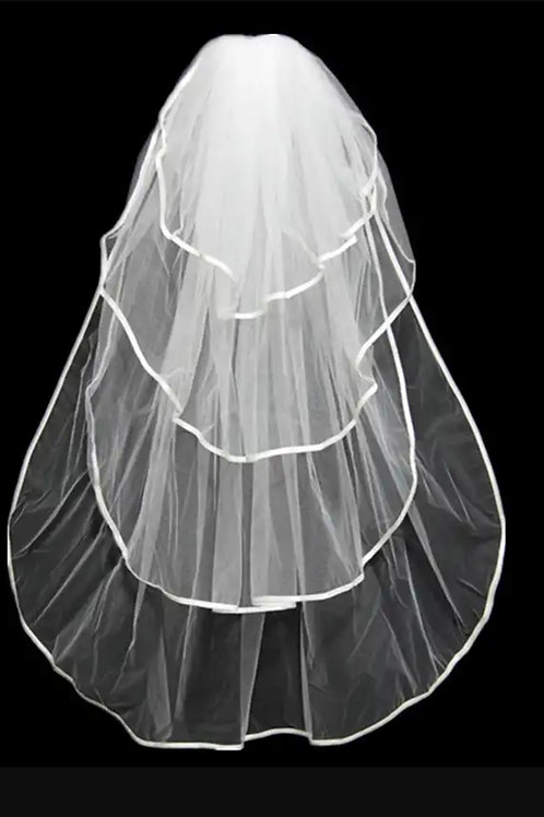 Short Bridal Veil GLV01 3 Layer with Front Face And Comb INDIA