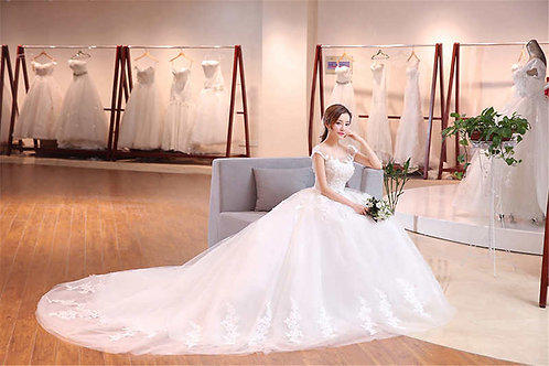 White Christian & Catholics Wedding Long Train Gown QHS681 With Sleeves