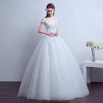 White Beautiful Wedding  Dress Gown HMD16050012