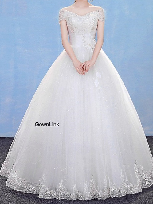 Christian Wedding Gowns Catholic Gowns White Wedding Frock GLHM7003 Off Shoulder