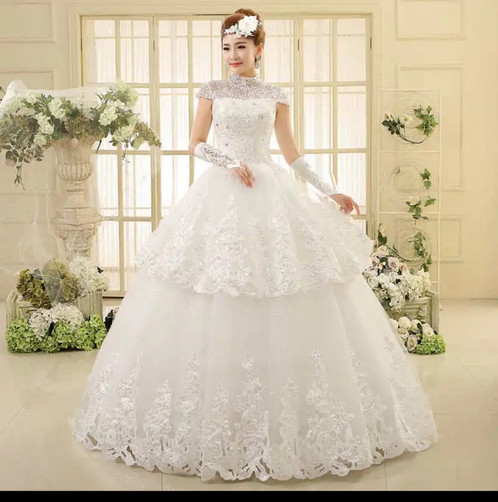 White christian Wedding Gowns Catholic gown Extra Sleeves QHS597