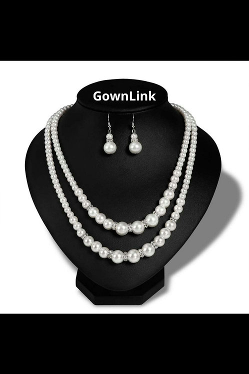 Beautiful White Peral Necklace For Bride With Earing  India N 69